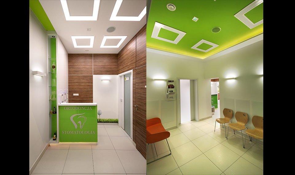 Projekt wnętrza gabinetu stomatologicznego - rejestracja/poczekalnia (zdjęcia)
