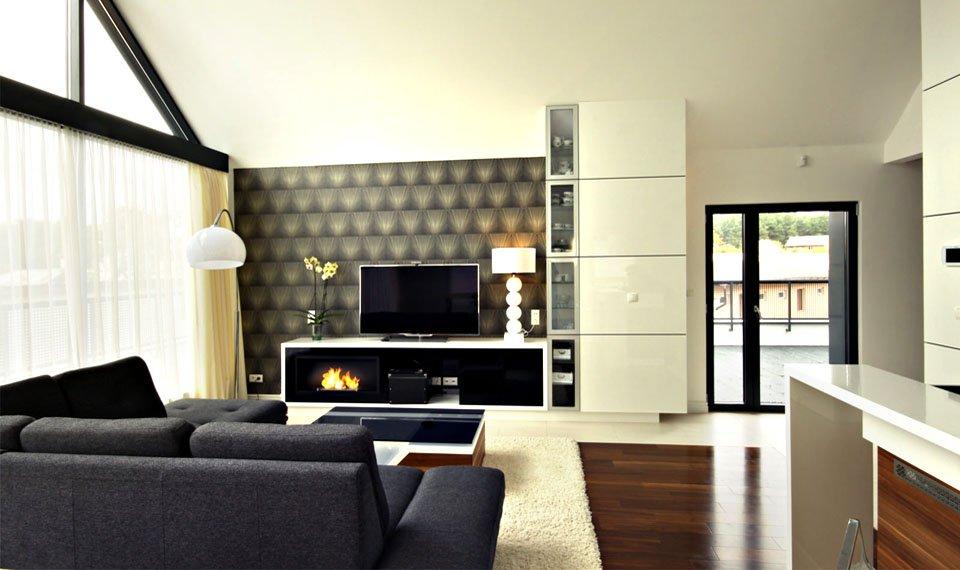 Projekt wnętrza - salon ściana telewizyjna/kominkowa (zdjęcie)