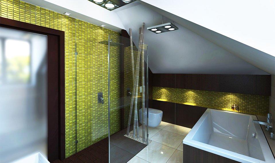 Projekt łazienki 12m2  na poddaszu widok 1 Hajnówka (wizualizacja 3d)