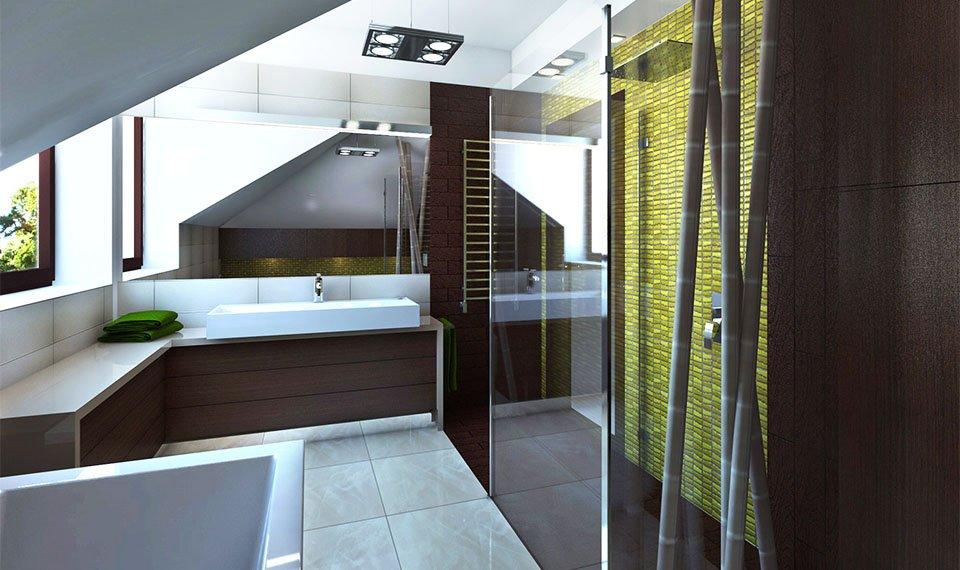 Projekt łazienki 12m2 na poddaszu widok 2 Hajnówka (wizualizacja 3d)