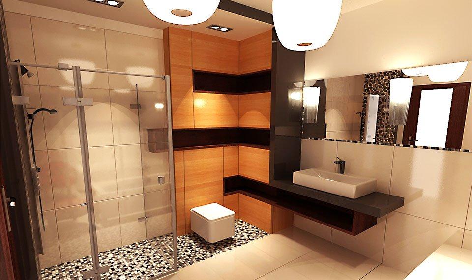 Projekt łazienki 15m2 w szeregówce Białystok (wizualizacja 3d)