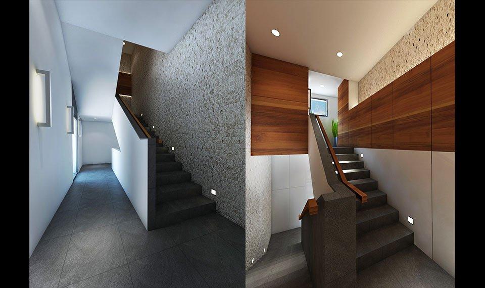 Wizualizacja 3d wnętrza – klatka schodowa widok 2 i 3