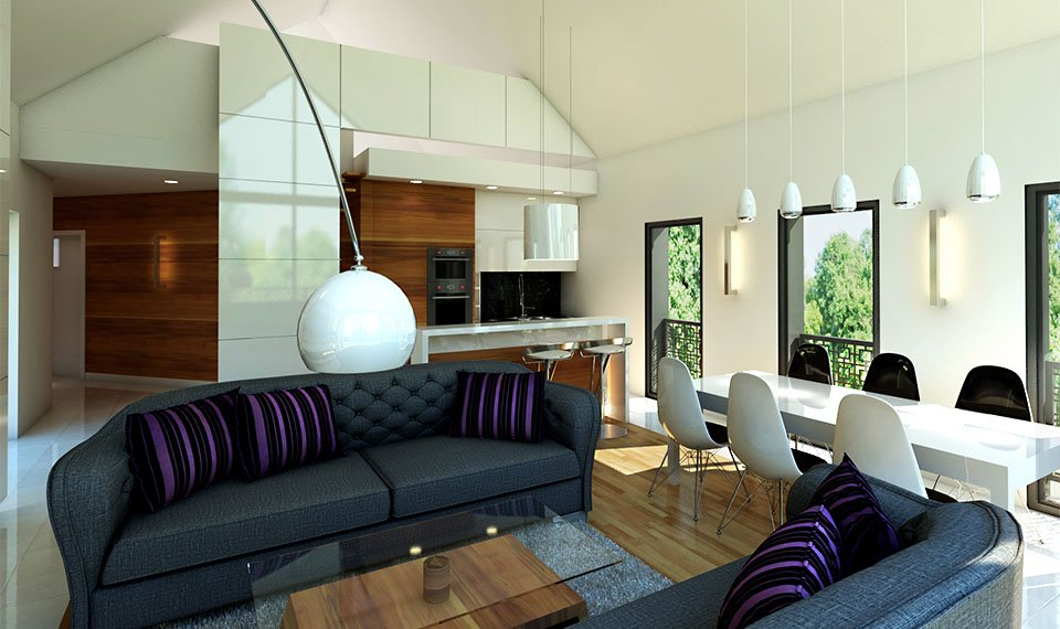 Wizualizacja 3d wnętrza – salon /kuchnia