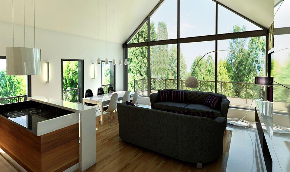 Wizualizacja 3d wnętrza – salon / jadalnia