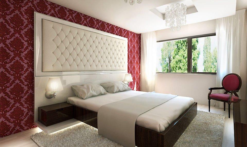 Wizualizacja 3d wnętrza – sypialnia widok 1