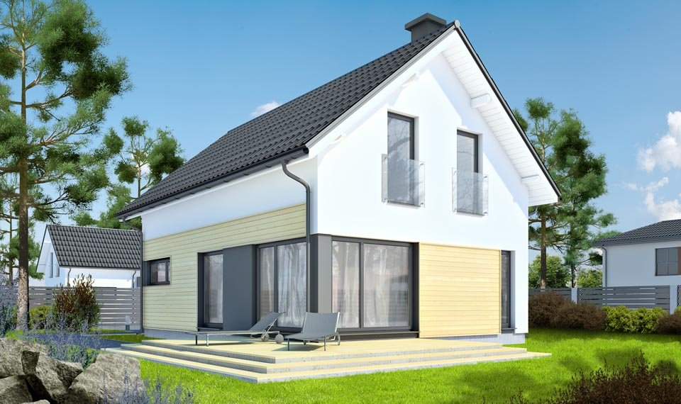 Wizualizacja 3d domu katalodowego DQM widok od strony ogrodu