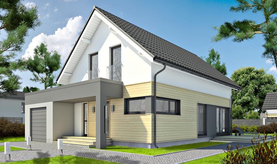 Wizualizacja 3d domu katalodowego DQM widok od wejścia
