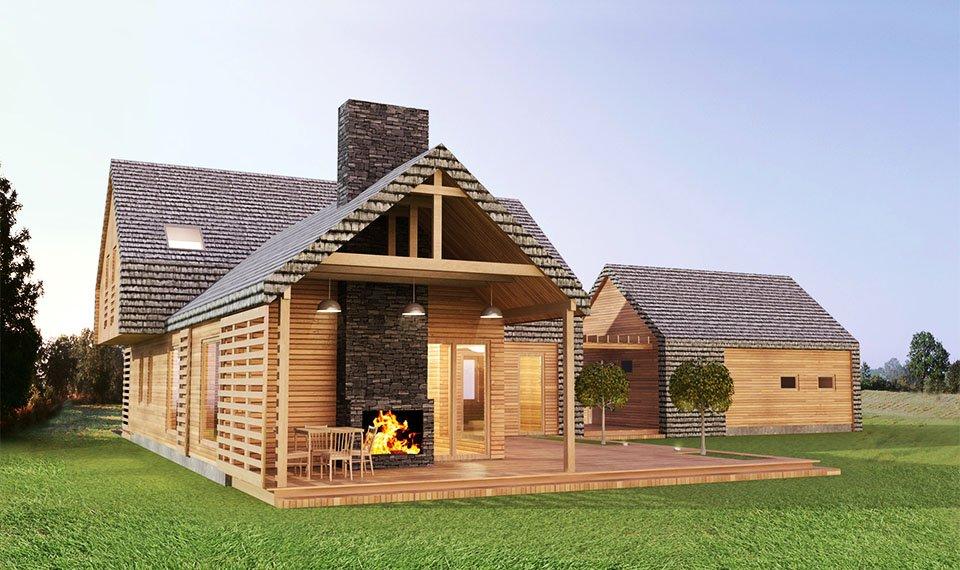 Projekt i wizualizacja 3d domu z drewna - widok 1