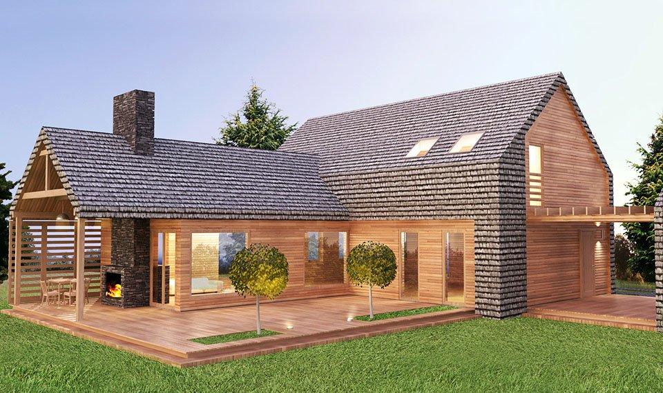 Projekt i wizualizacja 3d domu z drewna - widok 3