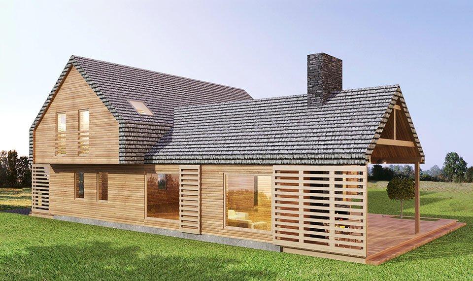 Projekt i wizualizacja 3d domu z drewna - widok 4