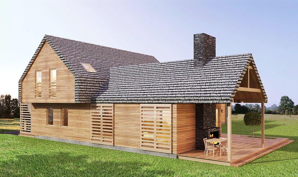 Projekt i wizualizacja 3d domu z drewna - widok 5