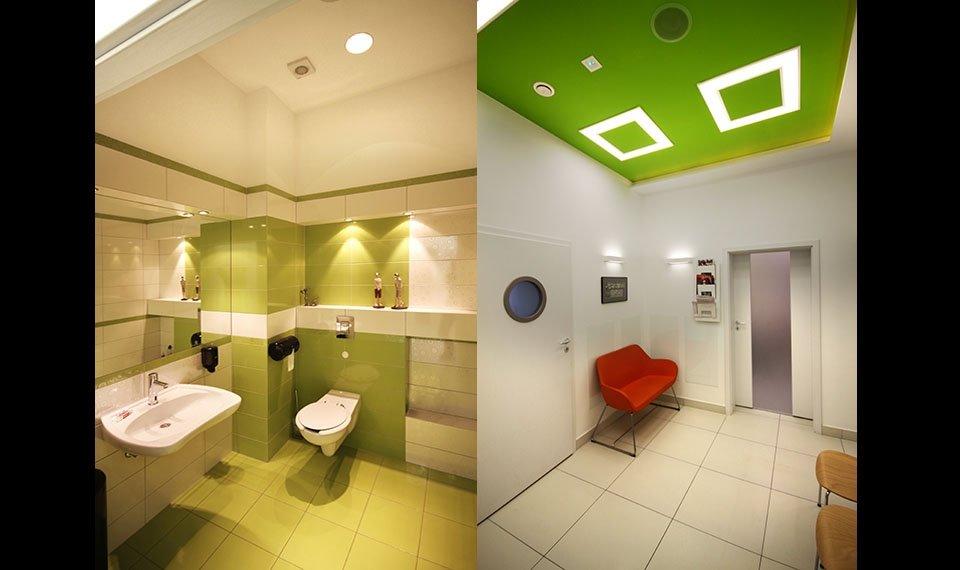 Projekt wnętrza gabinetu stomatologicznego - łazienka/poczekalnia (zdjęcia)