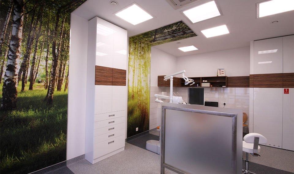 Projekt wnętrza gabinetu stomatologicznego - gabinet podwójny widok 1 (zdjęcie)