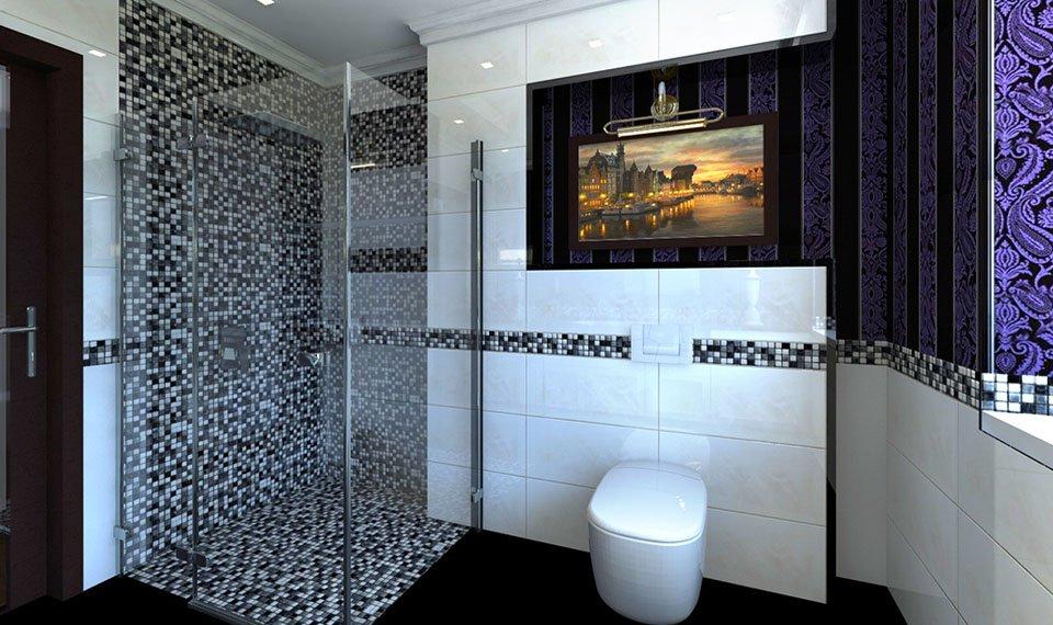 Projekt łazienki na parterze w domu 220m2 widok 2 Hajnówka (wizualizacja 3d)
