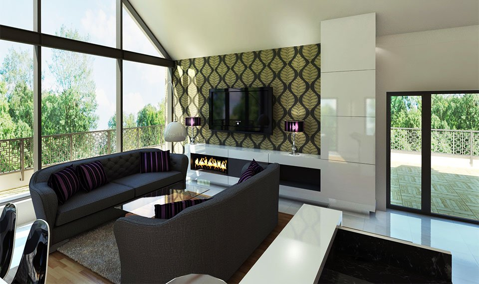 Wizualizacja 3d wnętrza – ściana telewizyjna i kominkowa