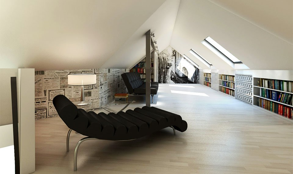 Wizualizacja 3d wnętrza – antresola