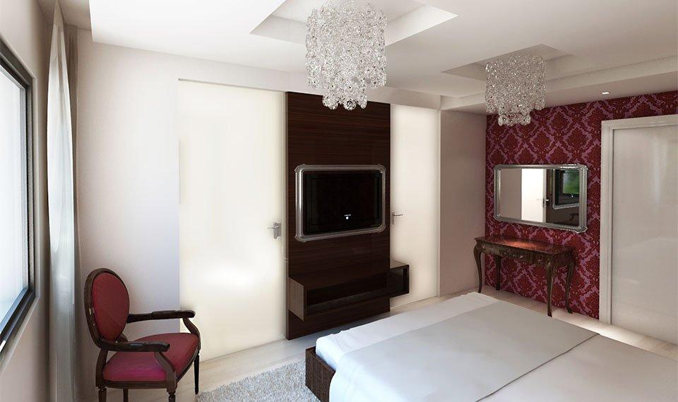 Wizualizacja 3d wnętrza – sypialnia widok 2