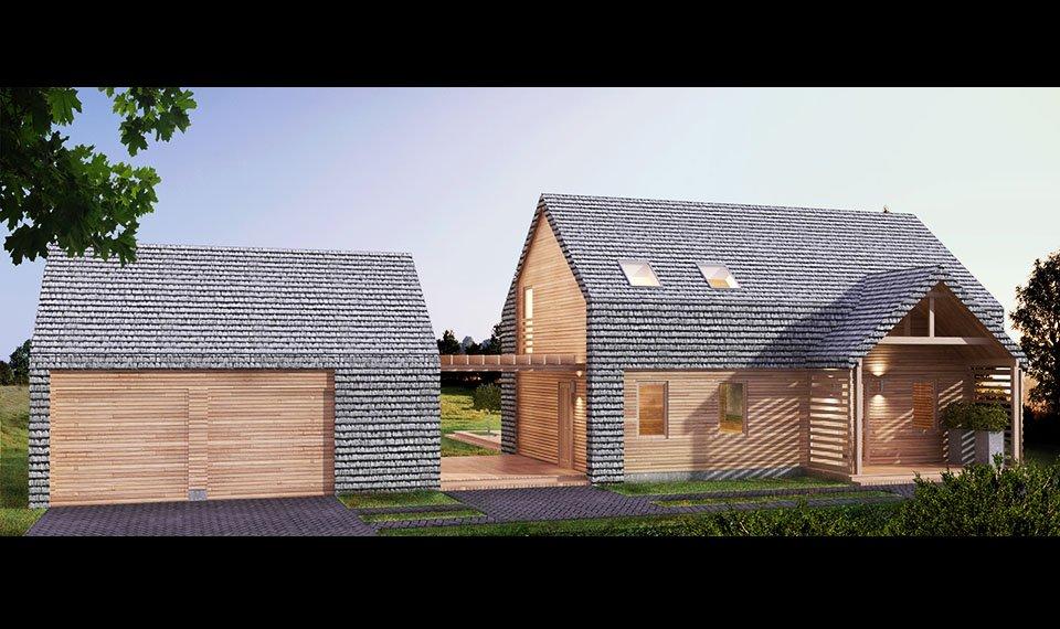 Projekt i wizualizacja 3d domu z drewna - widok 2