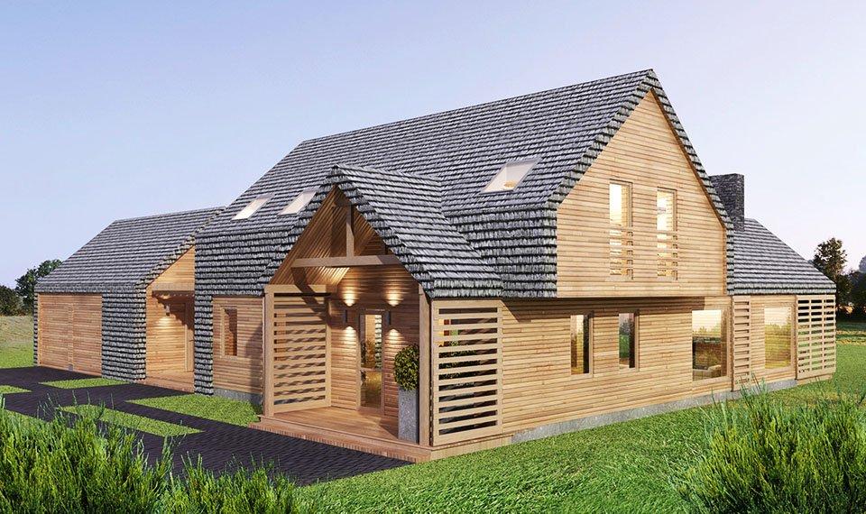 Projekt i wizualizacja 3d domu z drewna - widok 6
