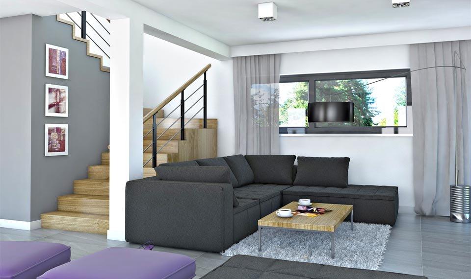 Wizualizacja wnętrza domu katalogowego DQM widok na kanapę