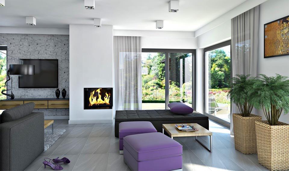 Wizualizacja wnętrza domu katalogowego DQM widok na ogród